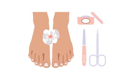 Conjunto de iconos de pedicura, elementos de diseño para estudio de uñas, vector de salón de spa ilustración sobre un fondo blanco