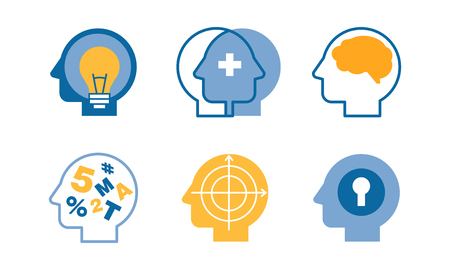 Head silhouettes with ideas in their heads set, human thoughts and emotions, side view vector Illustration, web design Stock Illustratie