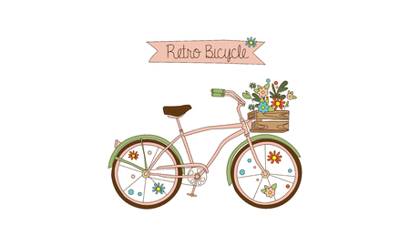 Retro bicycle with a basket of flowers had drawn vector Illustration, web design
