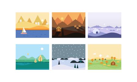 Natural landscape set, cute beautiful scenes of nature vector Illustration, web design Stock Illustratie