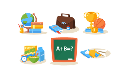 School and education icons set, different school supplies, back to school vector Illustration isolated on a white background.