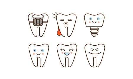 Stomatology and dental line icons set, cute teeth with different facial expressions vector Illustration on a white background Illustration