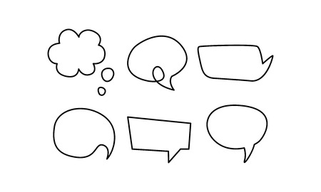 Speech bubble line icons set, text balloons of different shapes vector Illustration isolated on a white background. Çizim