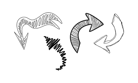 Collection of hand drawn arrows vector Illustration isolated on a white background. Illustration