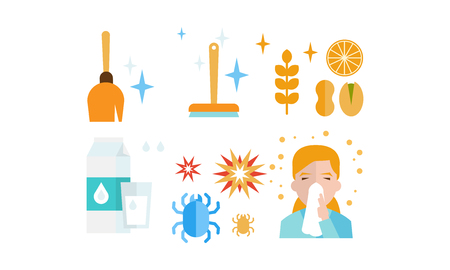 Allergy symptoms and treatment icons set, allergic reaction to dust, food, dairy products, insects, allergic rhinitis vector Illustration isolated on a white background.