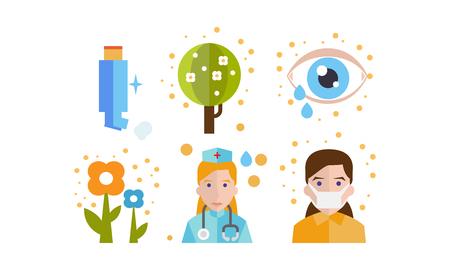 Ensemble d'icônes de symptômes et de traitement d'allergie, allergie saisonnière au pollen, vecteur d'asthme Illustration isolée sur fond blanc. Vecteurs
