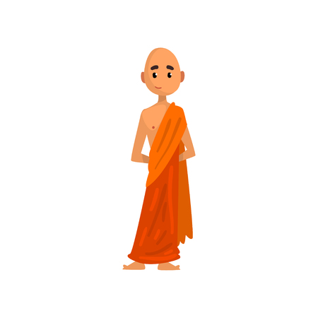 Buddhist monk cartoon character in orange robe vector Illustration on a white background 일러스트