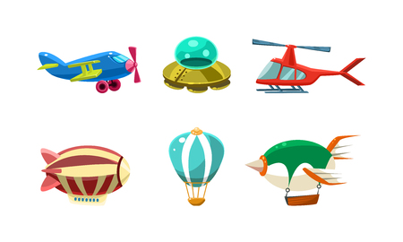 Cute cartoon aircrafts bright colors set, airplane, blimp, ufo, helicopter, hot air balloon vector Illustration isolated on a white background.