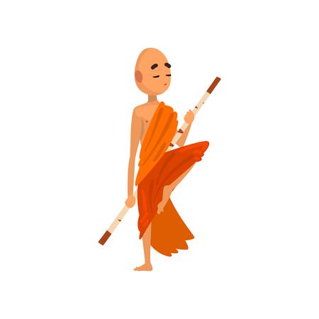 Buddhistischer Mönch-Cartoon-Charakter-Training mit Holzstab in orangefarbener Robe-Vektor-Illustration auf weißem Hintergrund