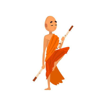 Buddhist monk cartoon character training with wooden stick in orange robe vector Illustration on a white background