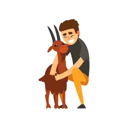 Cheerful male farmer character caring for his goat, farming and agriculture vector Illustration isolated on a white background.