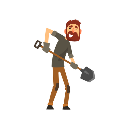 Smiling male farmer working with shovel, cheerful gardener character, farming and agriculture vector Illustration isolated on a white background.