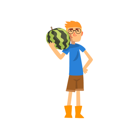 Smiling male farmer with watermelon, cheerful gardener character, farming and agriculture vector Illustration isolated on a white background.
