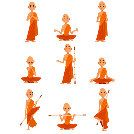 Conjunto de personajes de dibujos animados de monjes budistas en diferentes poses, monje en túnica naranja, rezando, meditando, practicando yoga vector ilustración sobre un fondo blanco