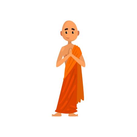 Personaggio dei cartoni animati di monaco buddista che prega in veste arancione vettoriale illustrazione su sfondo bianco