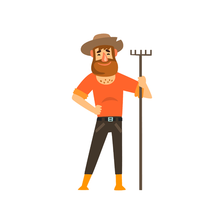 Happy male farmer character with rake, cheerful gardener at work, farming and agriculture vector Illustration isolated on a white background.