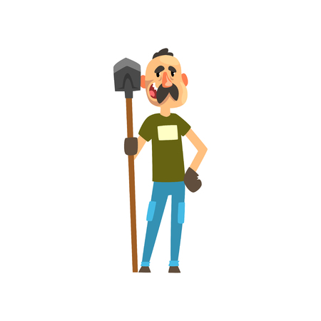 Cheerful male farmer character with shovel, gardener at work, farming and agriculture vector Illustration isolated on a white background. Illustration