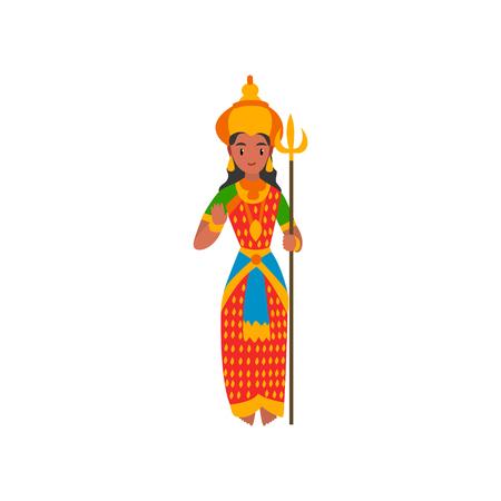Parvati Indian Goddes illustrazione vettoriale su sfondo bianco