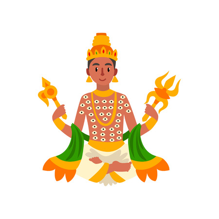 Indra Indian god of thunder, lightning and war vector Illustration on a white background Иллюстрация