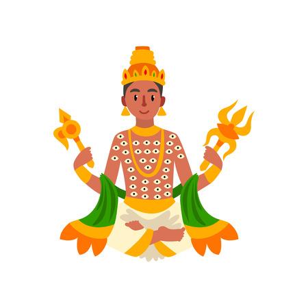 Indra Indian god of thunder, lightning and war vector Illustration on a white background Illustration