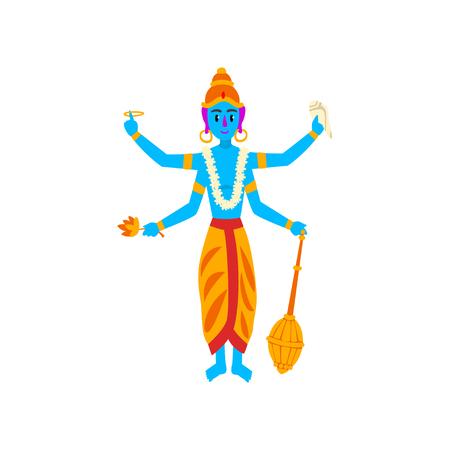 Dieu indien Vishnu, gardien du vecteur Univers Illustration sur fond blanc