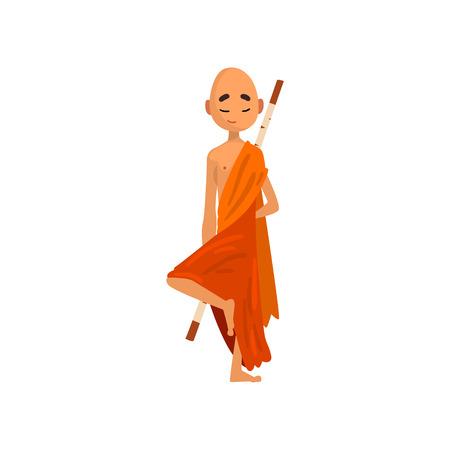 Personaggio dei cartoni animati di monaco buddista in tunica arancione che pratica yoga vettoriale illustrazione su sfondo bianco