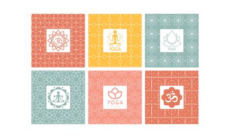 Yoga studio set, creative design element for label, badge or emblem vector Illustration Stock Illustratie