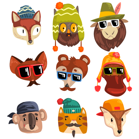 Animals wearing hipster hats and sunglasses, animal portraits cartoon vector Illustration isolated on a white background.