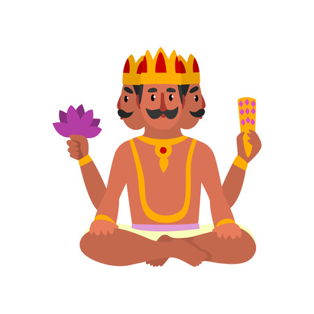 Brahma Indian many faced god, great God of creation vector Illustration on a white background Illustration