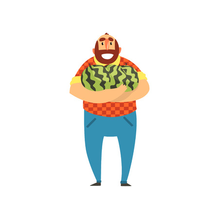 Happy bearded farmer character with watermelons, cheerful gardener, farming and agriculture vector Illustration isolated on a white background. Illustration
