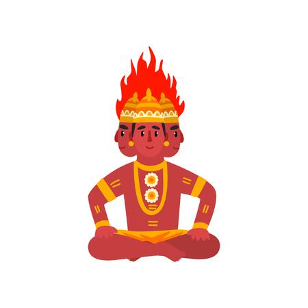 Agni, Dio indiano del fuoco illustrazione vettoriale su sfondo bianco