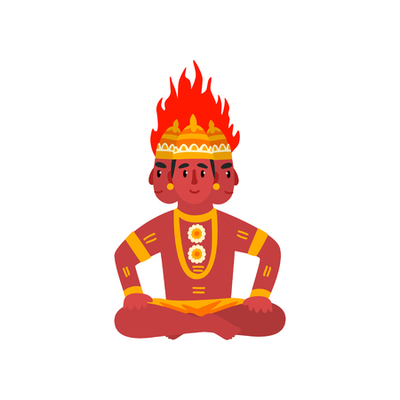 Agni, Indian God of fire vector Illustration on a white background