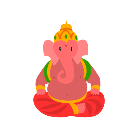 Ganesha Indian god of wisdom and wealth vector Illustration on a white background