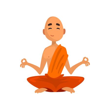 Personaje de dibujos animados de monje budista sentado en meditación en vector ilustración de túnica naranja sobre un fondo blanco