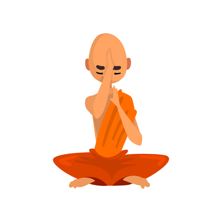 Buddhist monk cartoon character sitting in lotus position vector Illustration on a white background Vettoriali