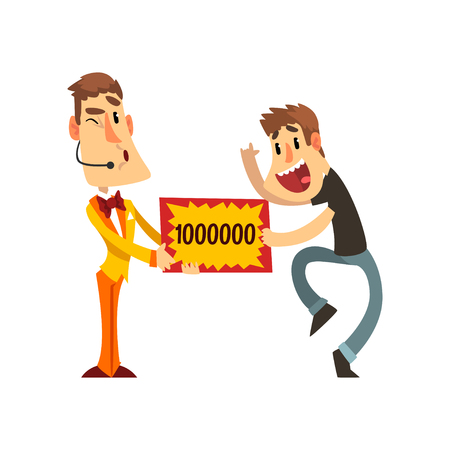 Anchorman and happy man holding winning check for one million dollars, lottery, quiz show concept vector Illustration isolated on a white background.  イラスト・ベクター素材
