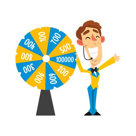 Fröhlicher Moderator mit Headset, das Roulette-Rad mit Zahlen, Quizshow-Konzeptvektorillustration auf einem weißen Hintergrund dreht