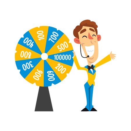Vrolijke anchorman met hoofdtelefoon draaiend roulettewiel met getallen, quizshow concept vector illustratie op een witte achtergrond