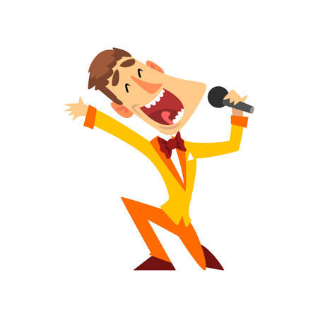 Game show host with microphone vector Illustration isolated on a white background.