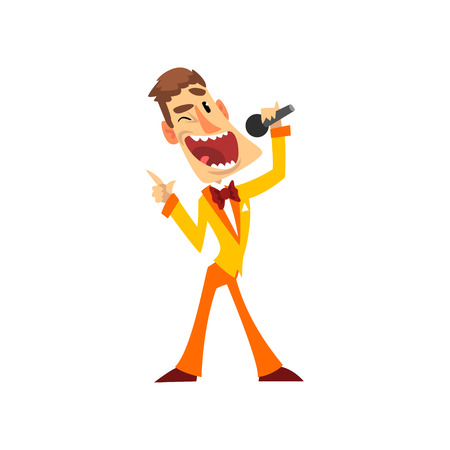 Joyful man with microphone, host of the show vector Illustration on a white background Çizim