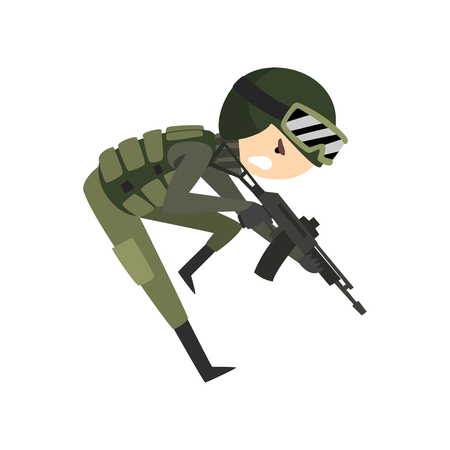 Military man with gun rifle, soldier character in camouflage combat uniform cartoon vector Illustration isolated on a white background.