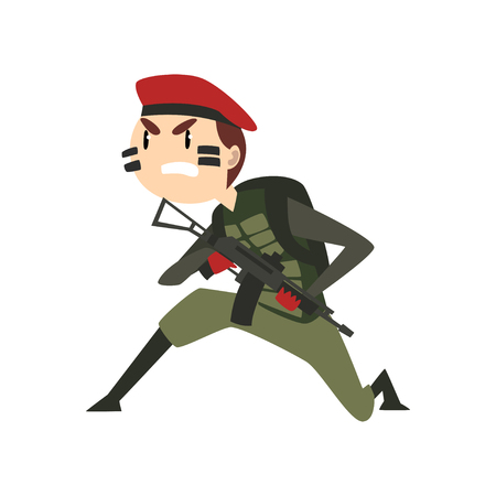 Military man with gun, warlike soldier character in camouflage uniform and red beret cartoon vector Illustration isolated on a white background.