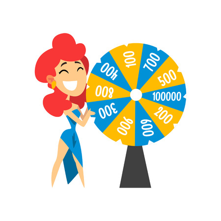 Smiling anchorwoman spinning roulette wheel with numbers, quiz show concept vector Illustration on a white background
