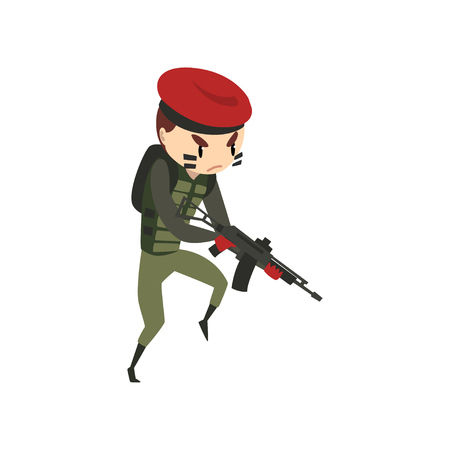 Military man with rifle, soldier character in camouflage uniform and red beret cartoon vector Illustration isolated on a white background.