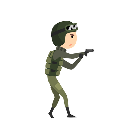 Military man with gun, soldier character in camouflage uniform, cartoon vector Illustration isolated on a white background.