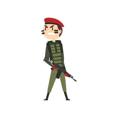 Military man with gun, soldier warlike character in camouflage uniform and red beret cartoon vector Illustration isolated on a white background.