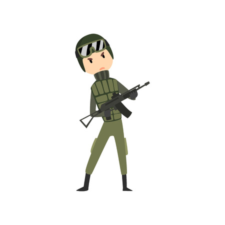 Military man with gun rifle, soldier character in camouflage uniform cartoon vector Illustration isolated on a white background.