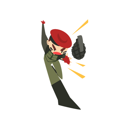 Military man throwing a grenade, soldier character in camouflage uniform and red beret cartoon vector Illustration isolated on a white background.