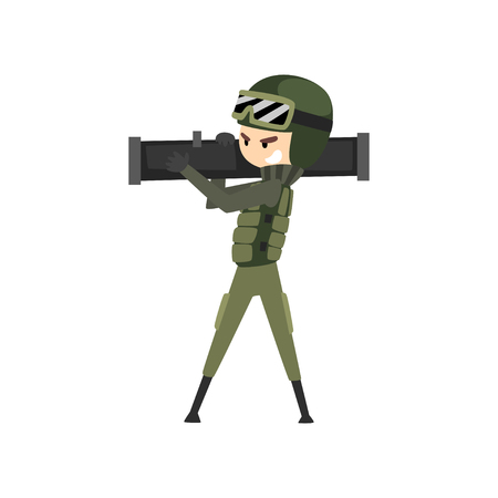 Military man with bazooka, soldier character in camouflage uniform cartoon vector Illustration isolated on a white background.