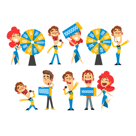 People taking part in lottery show, they spinning roulette wheel and holding winning check vector Illustration isolated on a white background. Ilustração